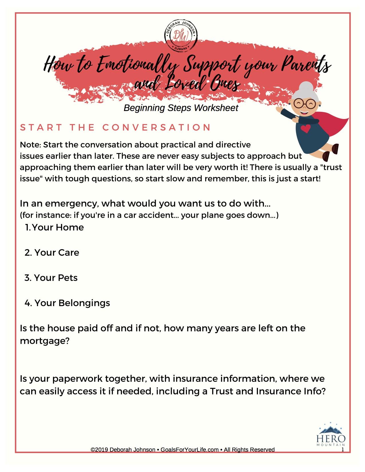 Emotional Support Worksheet