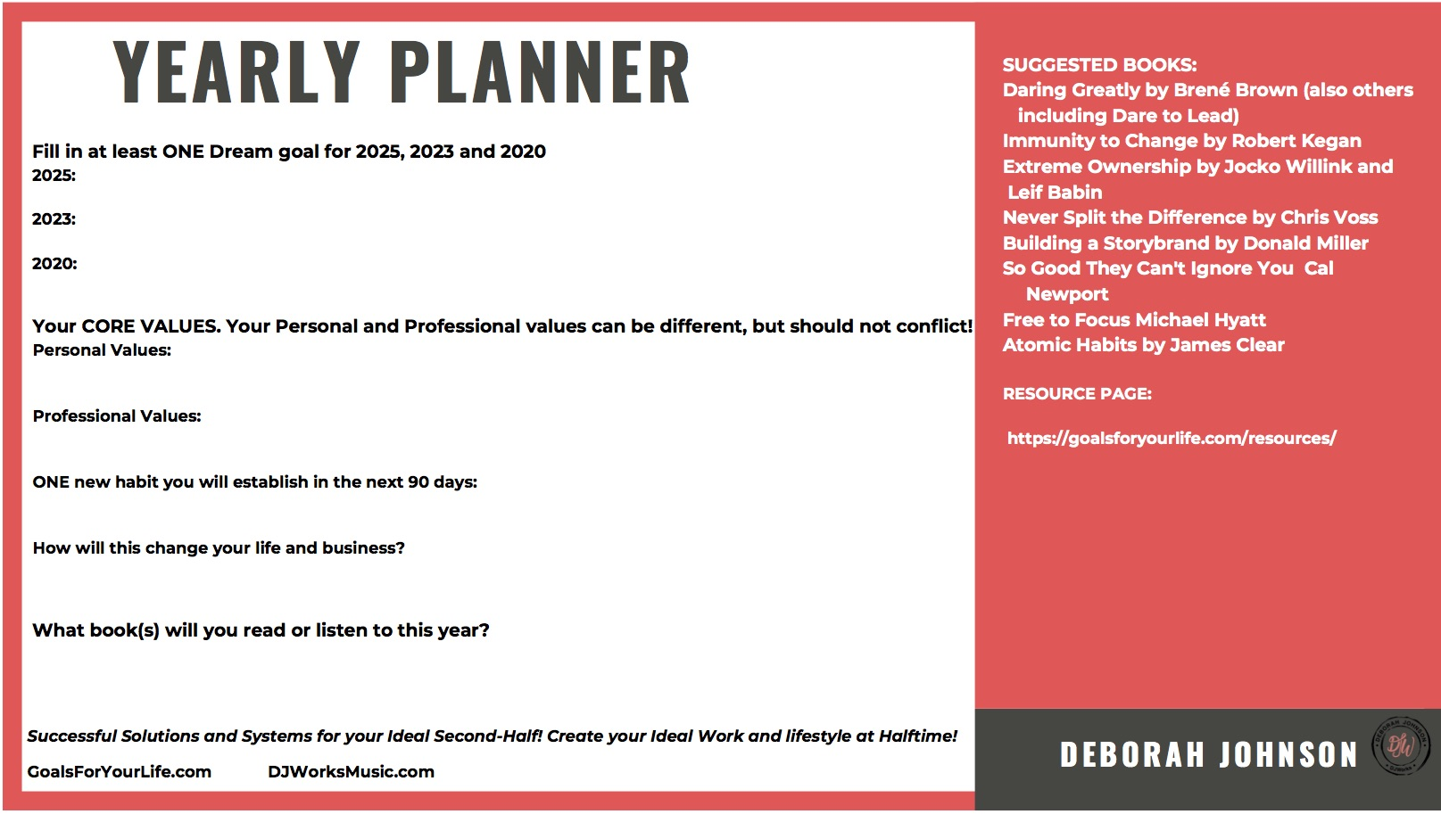 Yearly Planner-Deborah Johnson