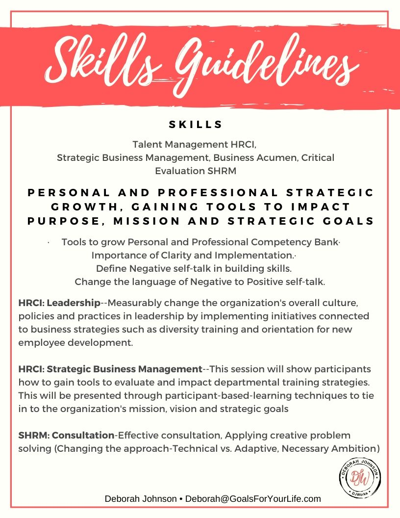 Skills Guidelines-Deborah Johnson