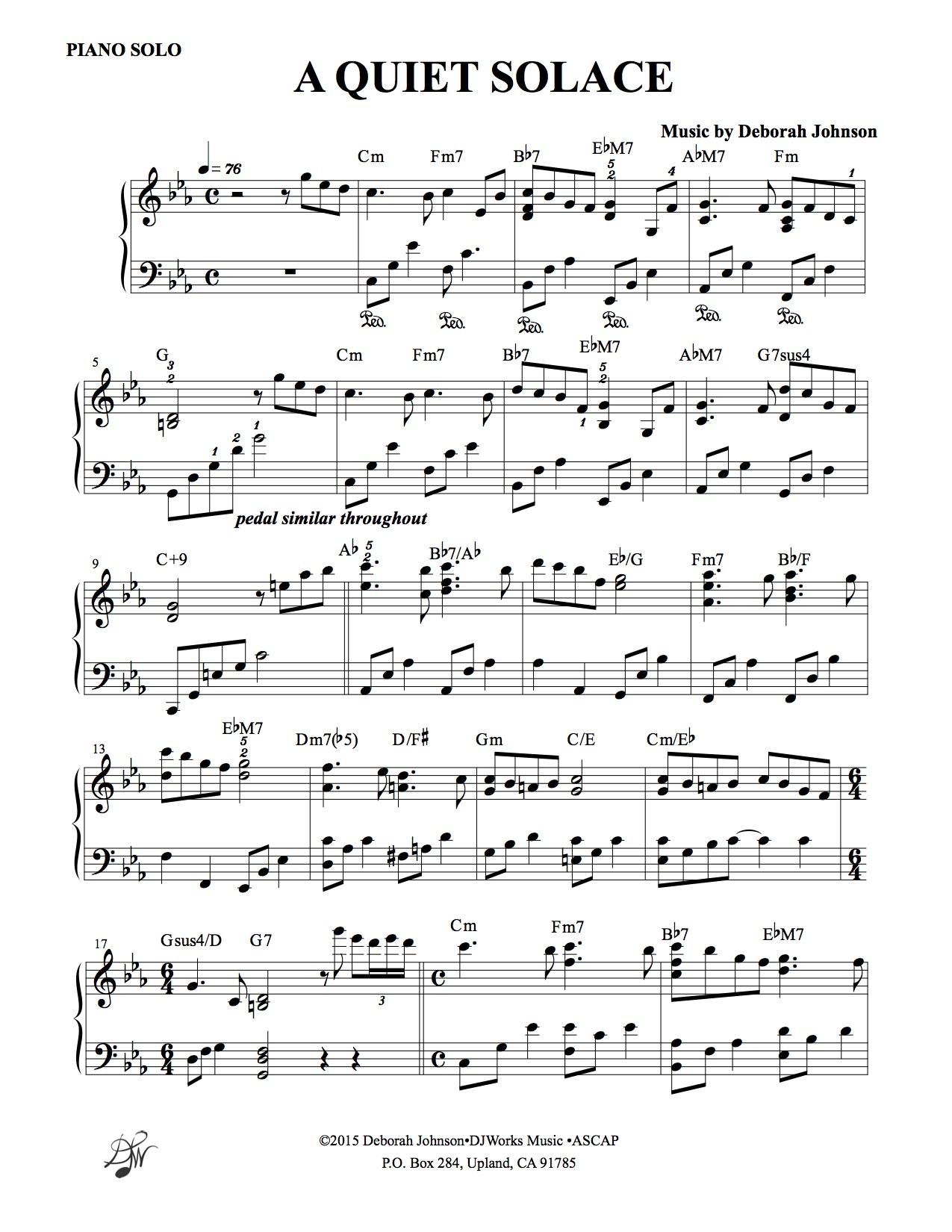 A Quiet Solace Sheet music-Deborah Johnson