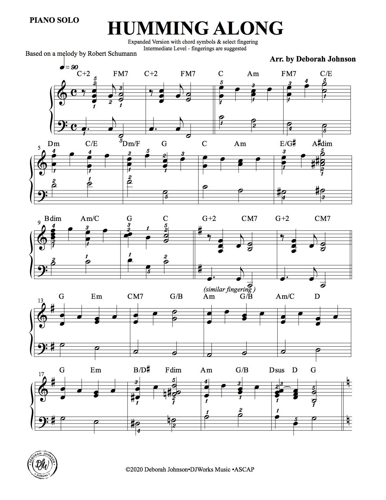 Humming Along-Deborah Johnson Piano Music